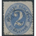 SCHLESWIG-HOLSTEIN - 1865 2S grey-ultramarine Numeral, rouletted, used – Michel # 16