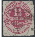 SCHLESWIG-HOLSTEIN - 1865 1⅓S red-carmine Numeral, rouletted, used – Michel # 23