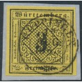 WÜRTTEMBERG - 1851 3Kr black on yellow Numeral (type V) on thin paper (Seidenpapier), used – Michel # 2y