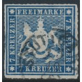 WÜRTTEMBERG - 1868 7Kr blue Coat of Arms, rouletted, used – Michel # 35a