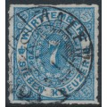 WÜRTTEMBERG - 1869 7Kr blue Numeral in Oval, rouletted, used – Michel # 39a