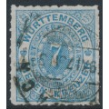 WÜRTTEMBERG - 1869 7Kr pale blue Numeral in Oval, rouletted, used – Michel # 39b