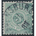 WÜRTTEMBERG - 1883 3pf brownish green Numeral in Circle, perf. 11½:11, used – Michel # 44b