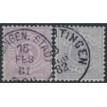 WÜRTTEMBERG - 1875-1881 5pf red-violet & violet-blue Numeral in Circle, perf. 11½:11, used – Michel # 45a+45b