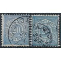 WÜRTTEMBERG - 1875-1890 20pf ultramarine & grey-turquoise Numeral in Circle, perf. 11½:11, used – Michel # 47a+47b