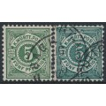 WÜRTTEMBERG - 1890 5pf dark green & dark blue-green Numeral in Circle, used – Michel # 56a+56b