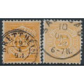 WÜRTTEMBERG - 1890 25pf deep orange & yellow-orange Numeral in Circle, used – Michel # 57a+57b