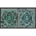 WÜRTTEMBERG - 1890-1892 5pf deep green & deep blue-green Officials, used – Michel # 103a+103b