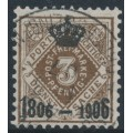 WÜRTTEMBERG - 1906 3pf deep orange-brown Numeral with Centenary overprint, used – Michel # 108