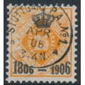 WÜRTTEMBERG - 1906 25pf deep orange Numeral with Centenary overprint, used – Michel # 111