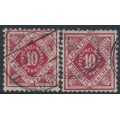 WÜRTTEMBERG - 1907-1909 10pf rose-red & carmine-red Numeral in Diamond Official, used – Michel # 115a+115b