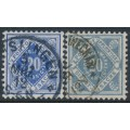 WÜRTTEMBERG - 1911-1919 20pf ultramarine & grey-ultramarine Numeral in Diamond Official, used – Michel # 116a+116b
