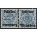 WÜRTTEMBERG - 1919 20pf blue & grey-ultramarine Numerals, Volkstaat Württemberg o/p, used – Michel # 140a+140b