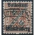 WÜRTTEMBERG - 1919 25pf reddish brown/black Numerals, Volkstaat Württemberg o/p, used – Michel # 141