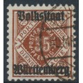 WÜRTTEMBERG - 1919 35pf dark yellow-brown Numeral, Volkstaat Württemberg o/p, used – Michel # 142