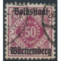 WÜRTTEMBERG - 1919 50pf purple-red Numeral, Volkstaat Württemberg o/p, used – Michel # 143b