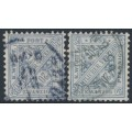 WÜRTTEMBERG - 1906 20pf grey-ultramarine & grey-turquoise Numerals in Shields Official, used – Michel # 231a+231b