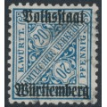 WÜRTTEMBERG - 1919 20pf deep cobalt-blue Official, Volkstaat Württemberg o/p, used – Michel # 264c