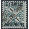 WÜRTTEMBERG - 1919 1Mk deep blue-green Official, Volkstaat Württemberg o/p, used – Michel # 270