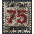 WÜRTTEMBERG - 1923 75 on 3pf deep brown Official, Volkstaat Württemberg o/p, used – Michel # 271X