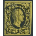SACHSEN - 1851 3NGr black on yellow King Friedrich August II, imperforate, used – Michel # 6