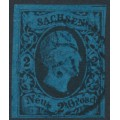 SACHSEN - 1852 2NGr black on blue King Friedrich August II, imperforate, used – Michel # 7
