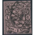 SACHSEN - 1859 1NGr black on pale red-carmine King Johann I (type II), imperforate, used – Michel # 9IIb