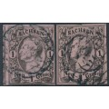 SACHSEN - 1855 1NGr black on pale grey-red King Johann I (types I & II), imperforate, used – Michel # 9I+9IIa