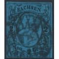 SACHSEN - 1855 2NGr black on blue King Johann I, imperforate, used – Michel # 10a