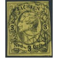 SACHSEN - 1855 3NGr black on yellow King Johann I, imperforate, used – Michel # 11