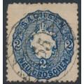 SACHSEN - 1863 2NGr deep blue Coat of Arms, used – Michel # 17b