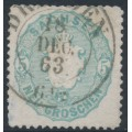 SACHSEN - 1863 5NGr grey-ultramarine Coat of Arms, used – Michel # 19a