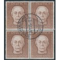 WEST GERMANY - 1954 7+3pf brown Helfer der Menschheit in a block of 4, used – Michel # 200