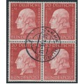 WEST GERMANY - 1954 20+10pf red Helfer der Menschheit in a block of 4, used – Michel # 202