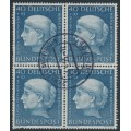 WEST GERMANY - 1954 40+10pf grey-blue Helfer der Menschheit in a block of 4, used – Michel # 203