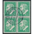 WEST GERMANY - 1955 10pf emerald-green Oscar von Miller in a block of 4, used – Michel # 209