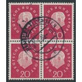 WEST GERMANY - 1959 20pf red-carmine President Heuss in a block of 4, used – Michel # 304