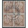 WEST GERMANY - 1954 6pf pale brown President Heuss in a block of 4, used – Michel # 180