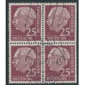 WEST GERMANY - 1954 25pf purple-brown President Heuss in a block of 4, used – Michel # 186