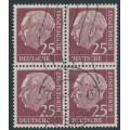 WEST GERMANY - 1954 25pf purple-brown President Heuss in a block of 4, used – Michel # 186