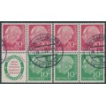 WEST GERMANY - 1955 4x20pf red & 3x10pf green President Heuss part booklet pane, used – Michel # H-Blatt 3