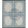 WEST GERMANY - 1955 40pf deep ultramarine Friedrich von Schiller in a block of 4, used – Michel # 210