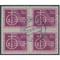 WEST GERMANY - 1955 20pf deep brownish purple Lechfeld in a block of 4, used – Michel # 216