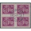 WEST GERMANY - 1955 20pf deep brownish purple Lechfeld in a block of 4, used – Michel # 216