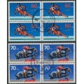 WEST GERMANY - 1978 Für den Sport set of 2 in blocks of 4, used – Michel # 958 + 968