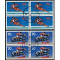 WEST GERMANY - 1978 Für den Sport set of 2 in blocks of 4, used – Michel # 958 + 968