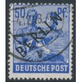 WEST BERLIN - 1948 50pf ultramarine Farmers overprinted BERLIN, used – Michel # 13
