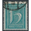 GERMANY - 1922 15pf green-blue Numeral, network watermark, geprüft, used – Michel # 179