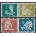 EAST GERMANY / DDR - 1950 Johann Sebastian Bach set of 4, used – Michel # 256-259