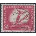 EAST GERMANY / DDR - 1951 24pf red-carmine Ski Jumping, used – Michel # 281
